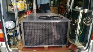 air conditioner service, repairs Ft Myers Florida. A brand new air conditioner ready for installation.